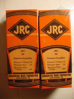 Pair Vintage Collectable RARE JRC 56 Tube Factory SEALED Johnsonburg Radio Corp