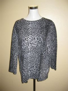 JONES NEW YORK Signature Woman PLUS Size 3X Gray Animal Print Knit Top 3 4 Slv