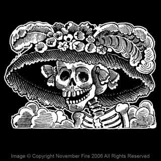 Female Dandy Shirt Jose Posada Day of The Dead Skeleton