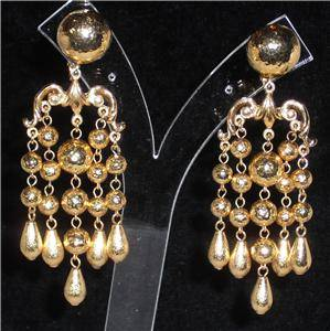 Jose Maria Barrera Gold Plated Chandelier Clip Earrings