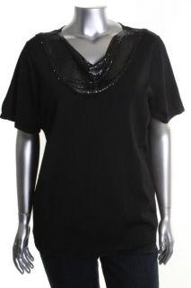 Jones New York NEW Black Embellished Chain Neck Short Sleeves Dress Top Plus 2X