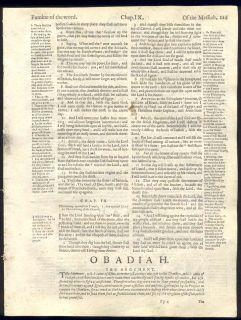 1599 Geneva Quarto Roman Letter Bible Leaves COMPLETE BOOK OF OBADIAH JONAH