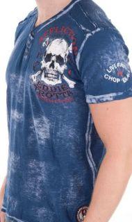 Affliction MMA American Customs Eddie Trotta Henley Blue Mens Tee Shirt XL