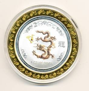 Chinese Year of The Dragon Silver with Gold Ring Collector Coin Token