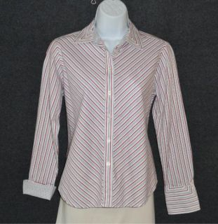Jones New York Signature Petite Sz PS Striped Button Down Optional Cuff Shirt