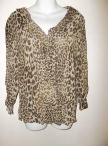 Jones New York Sport Leopard Blouse Sheer Button Up Size Medium