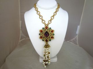 JOSE MARIA BARRERA Gold Gemstone Pearl Pendant Chain Necklace nwt 865