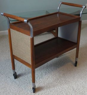 Mid century modern tea cocktail cart trolley table walnut steel Paul McCobb