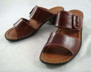 Vintage Josef Seibel Open Back Strappy Leather Women's Chunky Heel Sandals 7M