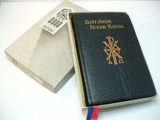 Vntg with Box 1953 Saint Joseph Sunday Missal Leather Large Print English Latin
