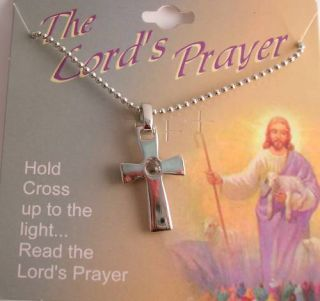 The Lords Prayer Silver Cross Necklace Pendant Chain MM2492LP ONX