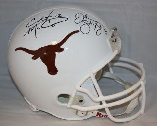 Colt McCoy Jordan Shipley Autographed Full Size Texas Longhorns Helmet JSA AAA