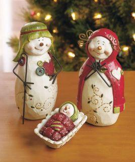 3 Pc Snowman Nativity Set Chritmas Holiday Statue Joseph Mary Jesus Decor NEW