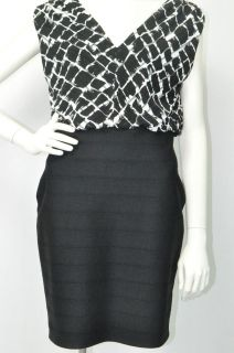 Joseph Ribkoff Black White Paneled Dress with Top Print Dress Sz 8 UK 10 NWT New