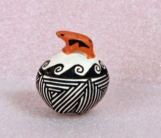 Acoma Pottery Polychrome Miniature Seed Pot with Animal by Joyce L