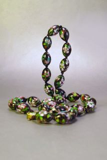 VTG Art Deco Asian Enamel Necklace Chinese Cloisonne Beads Flowers Birds 1930s
