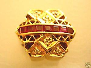 Estate RARE Joshua Diamond Ruby 14k Gold Bracelet Slide