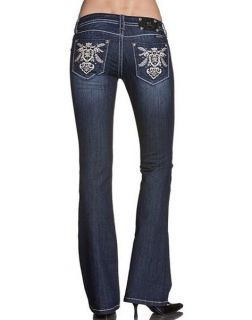 NWT Miss Me Size 28 Abstract Royal Emblem Boot Cut Lowrise Stretch Jeans JP5613B
