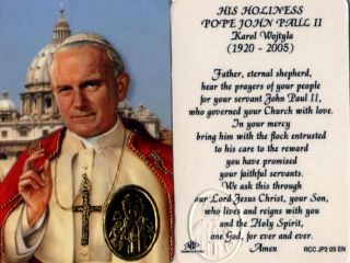 2 Laminated Wallet Cards Pope John Paul II Pope Benedict XVI Pls See Store