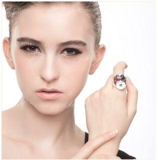 1P Pink Enamel Crystal Opera Mask Masque Fashion Finger Ring Adjust Jewelry Gift