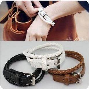 Manual Weave Twist PU Leather Adjustable Buckle Bracelet Bangle CN44092