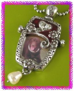 Brighton Silver Red Joy Heart Photo Necklace NWTag