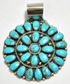 Navajo Turquoise Cluster Sterling Silver Pendant Juliana Williams