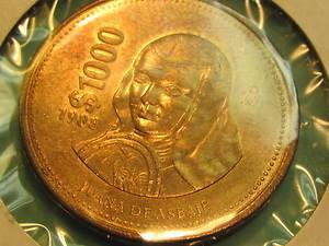 1000 PESO UNCIRCULATED JUANA De ASBAJE LARGE BRONZE MEXICAN COIN 1988 |
