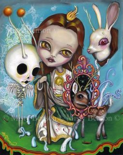 Saint Jude Art Skeleton Deer Gothic Fantasy Pop Surrealism Big Eye Boy Painting