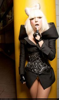 Lady Gaga Soft Leather Half Finger Heart Gloves Black JP32