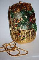 Judith Leiber Original Fruit Basket w Gemstones Crystal Full Bead Handbag