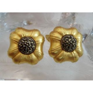 Vintage Costume Jewelry JUDITH JACK Earrings Gold Marcasite