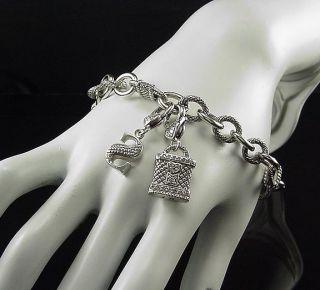 Dazzling estate sterling silver Judith Ripka lock initial charm bracelet