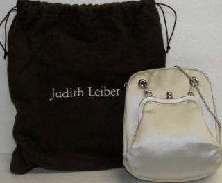 Judith Leiber Light Silver Satin Evening Bag Crystal Trimmed Silver Snake Chain