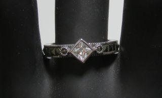 New Judith Jack Sterling Silver Marcasite Stones White Rhinestone Ring Size 7 5