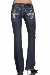 Miss Me JP5519B Glorious Cross Boot Cut Lowrise Stretch Jeans