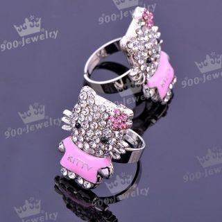 1x Pink Cat Cat Enamel Crystal Adjustable Fashion Finger Ring US6 5