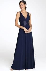 JS Boutique DARK NAVY BLUE Beaded Waist Shoulders Matte Jersey Gown 2 198