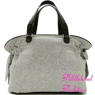 Juicy Couture Tote Bag Velour SCOTTIE SUNRISE Crest Bella Daydreamer Gray Black
