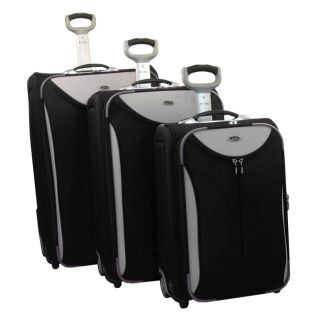 Jourdan Expandable 3 Piece Rolling Upright Luggage Set Black Grey Trim