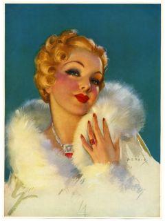 VINTAGE 1930s JULES ERBIT GORGEOUS PIN UP PRINT ART DECO MINT BLOND JEWELS FUR