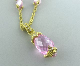 Judith Ripka 18K Gold Pink Crystal Diamond Necklace