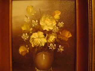 Vtg Framed Original Signed A Julia Oil Painting Bouquet Flowers Floral Vase Art