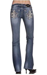 Miss Me JP5468B Mosaic Fleur de Lis Boot Cut Lowrise Stretch Jeans