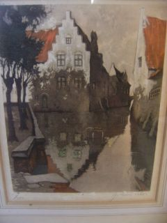 "Vtg Julian Celos House on Canal Watercolor Print 100 500 Framed Art 13"" x 15"""