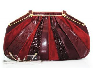 Judith Leiber Vintage Snakeskin Purse Karung Clutch Handbag 13 Mint