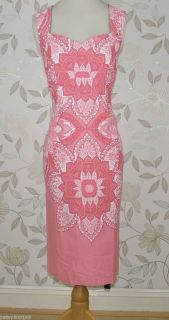 Lovely BNWT Julien Macdonald Star  Pink Abstract Print Dress