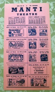 Movie Calendar Ad June July 1942 Manti Utah Theatre