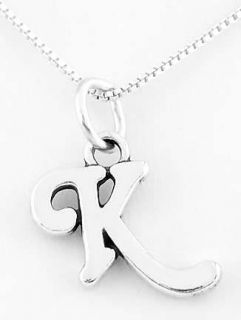 Sterling Silver Letter K Charm with Necklace 16