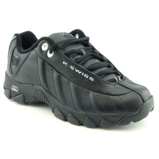 Swiss ST329 Mens Size 9 5 Black Leather Athletic Sneakers Shoes